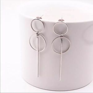 Jewelry - Silver Long Tassel Pendant Size Circle Earrings